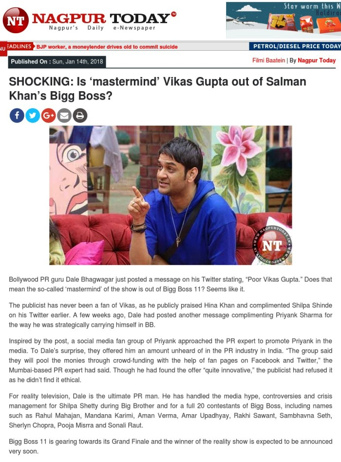 Bollywood publicist Dale Bhagwagar talks about a twist on Bigg Boss hosted by Salman Khan