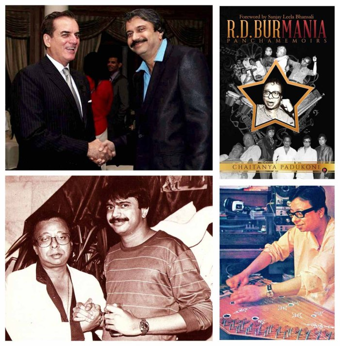 (Clockwise) 1. Ambassador of Brazil, Tovar da Silva Nunes with Chaitanya Padukone, 2. book cover, 3. Chaitanya Padukone with R.D.Burman, 4. R.D.Burman.