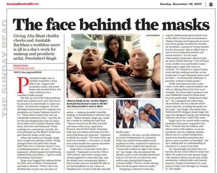 Preetisheel Singh in Mumbai Mirror