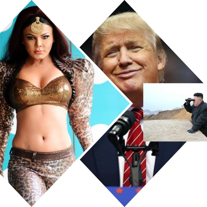 Rakhi Sawant, Donald Trump, Kim Jong Un. Collage 2. (Images courtesy - Google)