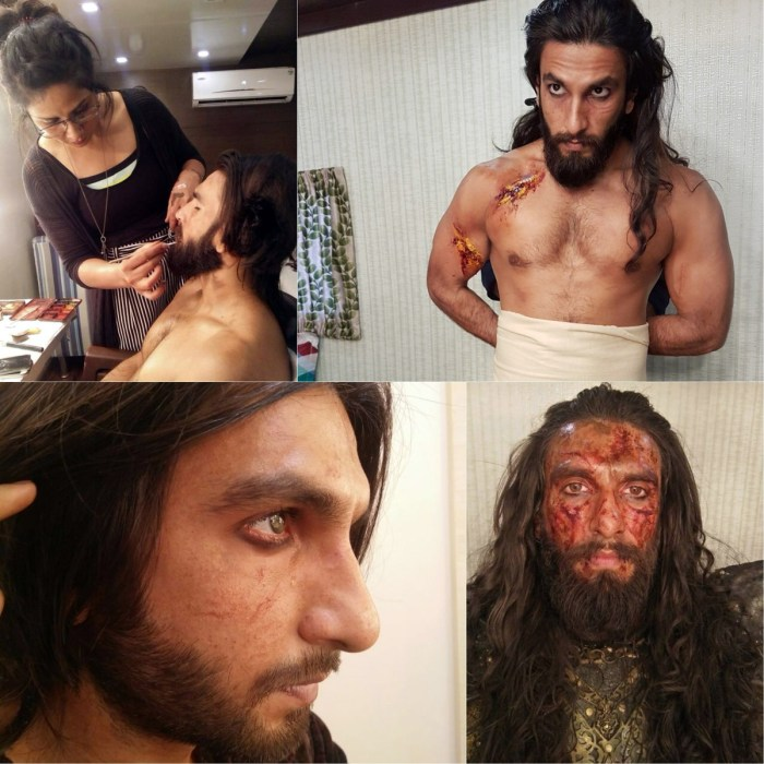 Preetisheel Singh working on Ranveer Singh's look on the sets of Padmaavat. Collage 2.