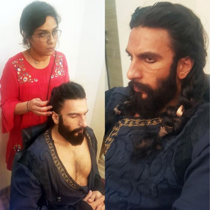 Preetisheel Singh working on Ranveer Singh's look on the sets of Padmaavat. Collage 3.