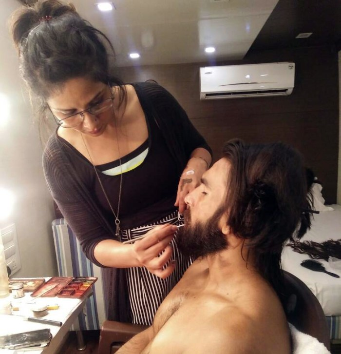 Preetisheel Singh working on Ranveer Singh's look on the sets of Padmaavat. Pic 2.