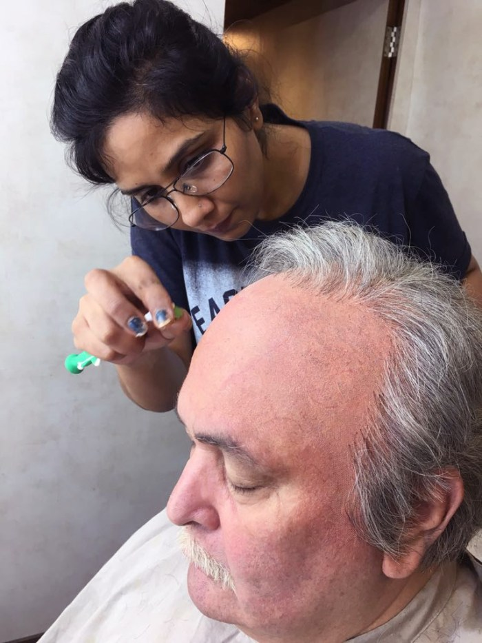 Preetisheel Singh working on Rishi Kapoor's look on the sets of 102 Not Out.