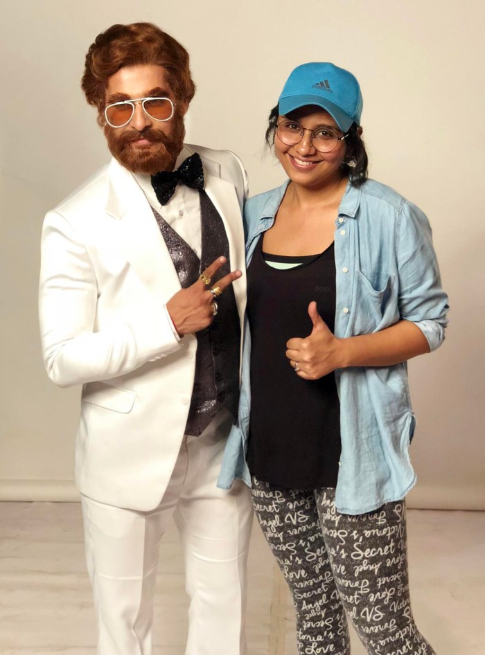 Ravi Dubey in the look of villain Ajit with Preetisheel Singh on the sets of Sabse Smart Kaun. Pic 1.