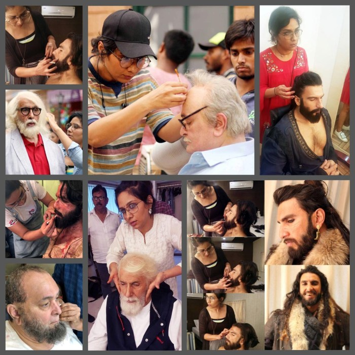 Collage -- Make-up, hair and prosthetic specialist Preetisheel Singh with Amitabh Bachchan, Rishi Kapoor, Ranveer Singh and Shahid Kapoor during the making of Padmaavat, 102 Not Out and