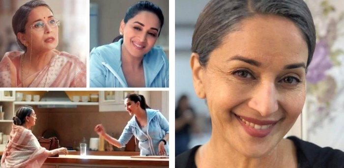 Madhuri Dixit's double role transformation as mother and daughter (Image courtesy - Aquaguard)