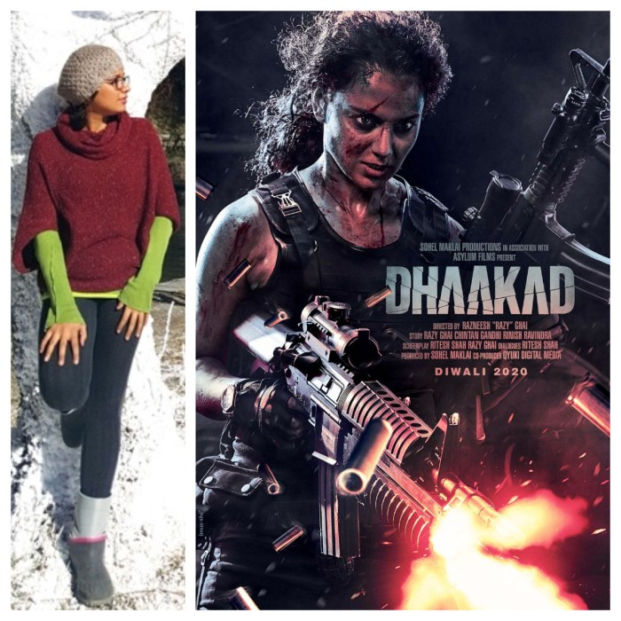 Collage -- Make-up, hair and prosthetic specialist Preetisheel Singh, and first-look poster of Kangana Ranaut-starrer Dhaakad.