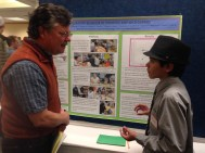 Bella Romero eighth-grader Joel Chavez presents our research to GDPE director Dr. LeRoy Poff at CSU's Front Range Student Ecology Symposium February 25, 2015.