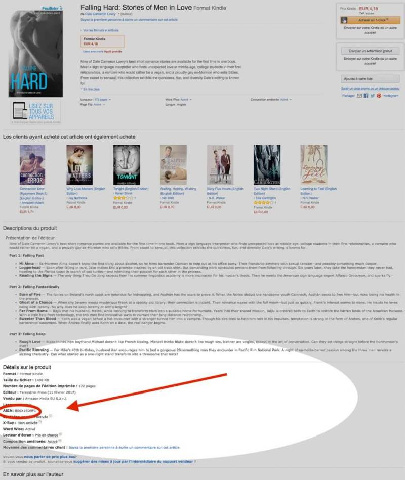 Image of Amazon book page with highlighted ASIN.