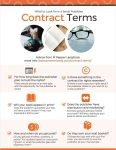 "Infographic with the following text: What to Look for in a Small Publisher Contract Terms Advice from M Pepper Langlinais more info: dalecameronlowry.com/contract-terms/ For how long does the publisher plan to hold the rights? There should always be an end date with the opportunity for the publisher to renew. Is there something in the contract for rights reversion? Is there a way to get your rights back if the publisher closes or you want to try a new publisher? Will your book appear in print? Does the publisher guarantee your title will have a print version? If not, how important is that to you? Does the publisher have distribution and marketing? Are they going to actively market your book? Will they distribute your book to stores and libraries? How and when do you get paid? Do you get paid monthly, quarterly, or yearly? Are royalties based on cover price (""gross""), or what the publisher gets after expenses (""net"")? Do they own your next book(s)? If things don't go well with your first book, you don't want to owe the publisher all your manuscripts."