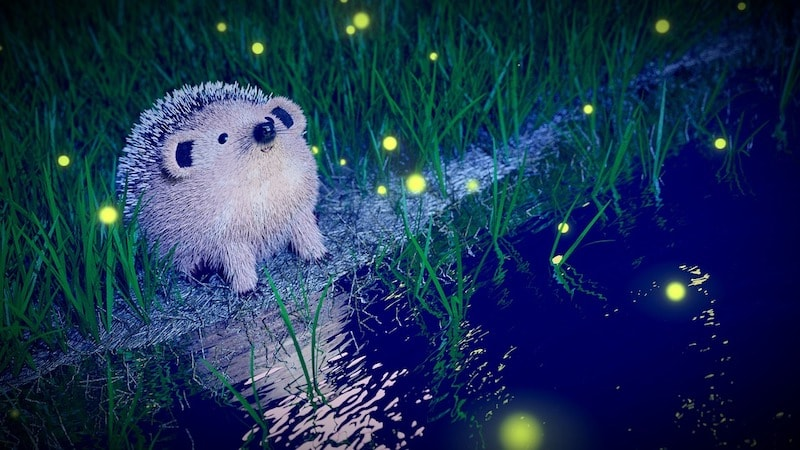 computer drawing of an animal that looks a lot like a hedgehog on the edge of a pond, surrounded by fireflies