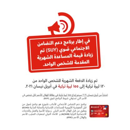 زيادة على المبلغ الشهري لكرت الهلال الأحمر التركي