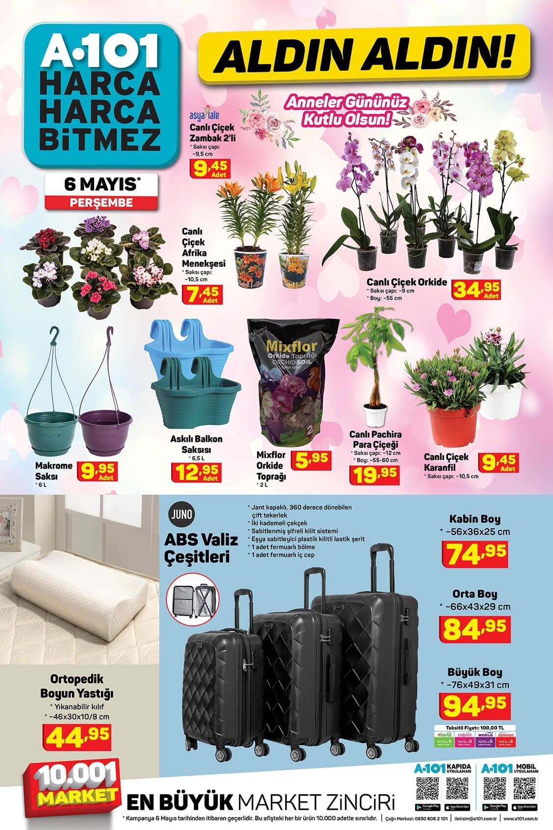 تخفيضات ماركت يوزبير A101 على الحقائب والنباتات