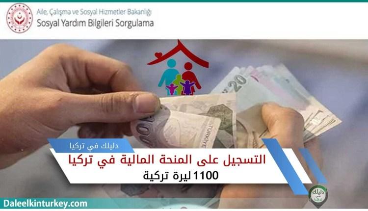 رابط تسجيل على مساعدة 1100 ليرة تركية