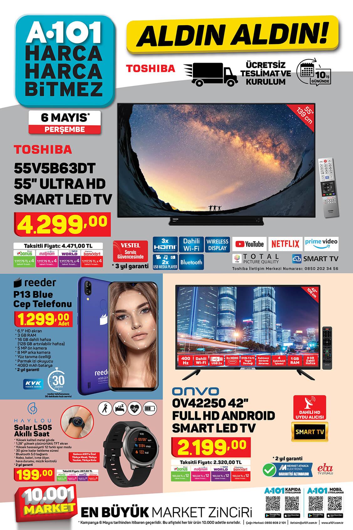 عروض ماركت يوزبير A101 على شاشات بلازما وجوالات