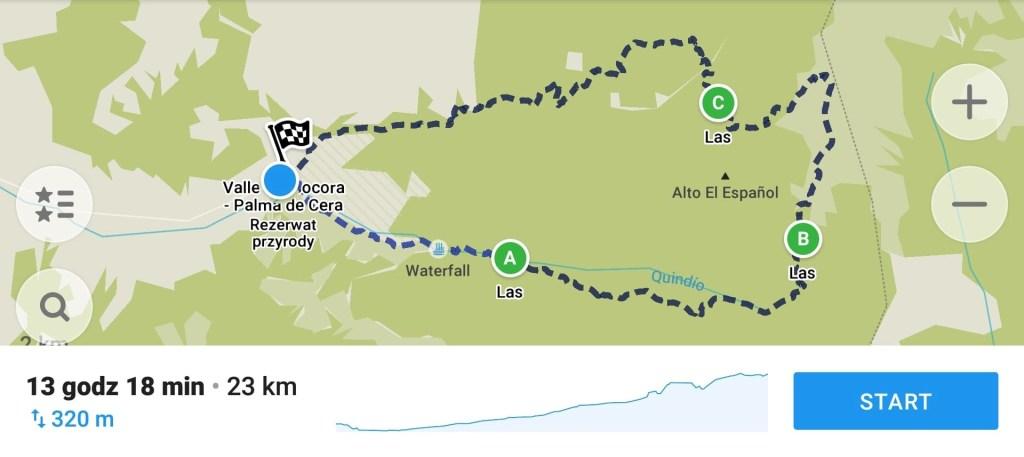 Cocora valley mapa trekingu