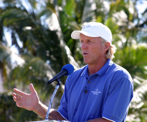 Greg Norman at Emerald Reef GC. Copyright Donnelle Oxley