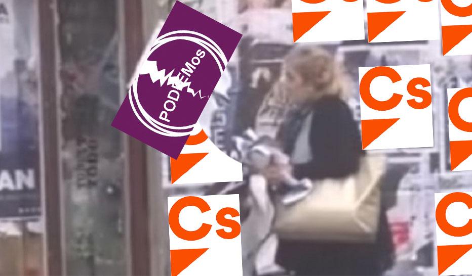 Pillan a el número 2 de Ciudadanos en Ciudad Real «destrozando carteles de Unidas Podemos»