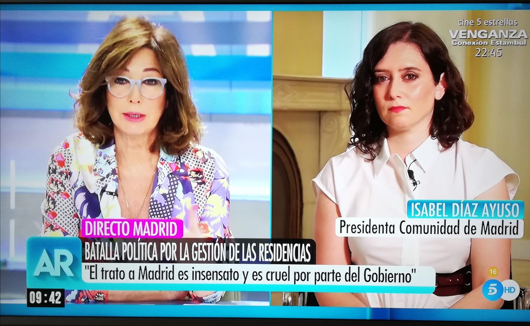Ana Rosa realiza una «entrevista» vergonzosa a Isabel Díaz Ayuso.
