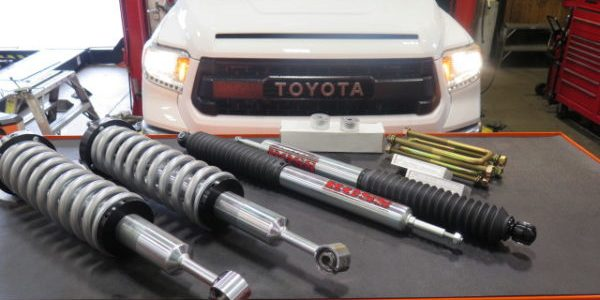 2016 Toyota Tundra getting a TOYTEC BOSS Level Off Kit at Dales Auto Service