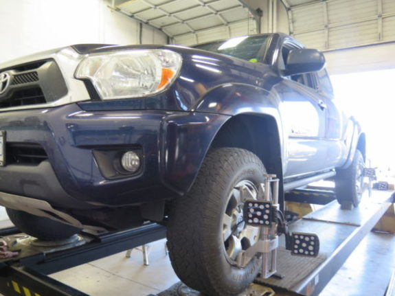 Toyota Tacoma in for a Readylift Leveling Kit at Dales Auto Service