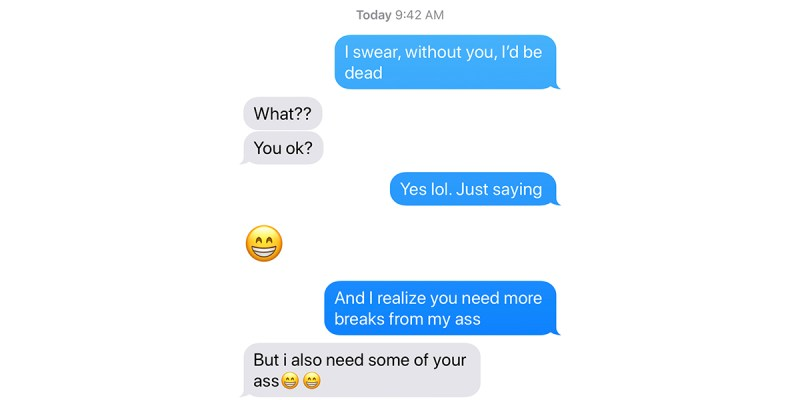 I'd be dead blog, text between jowanna and her husband.