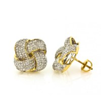 14Kt Yellow Gold and Diamond Knot Stud Earrings 1.35Ct ...