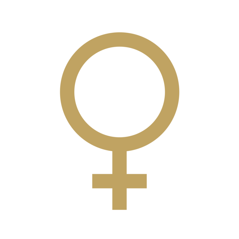 Venus symbol in gold.
