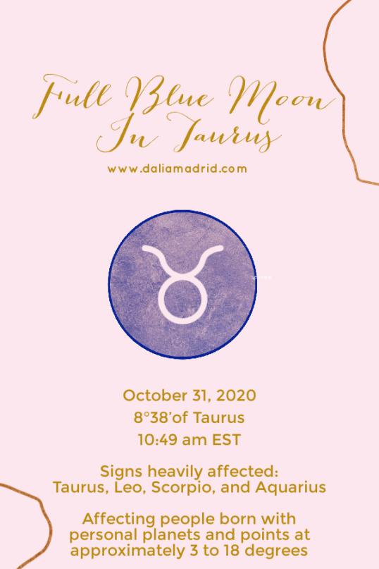 Full Blue Moon in Taurus on October 31, 2020
