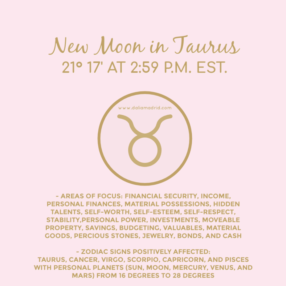 New Moon in Taurus on May 11, 2021, at 21°17′ at 2:59 pm (eastern time)