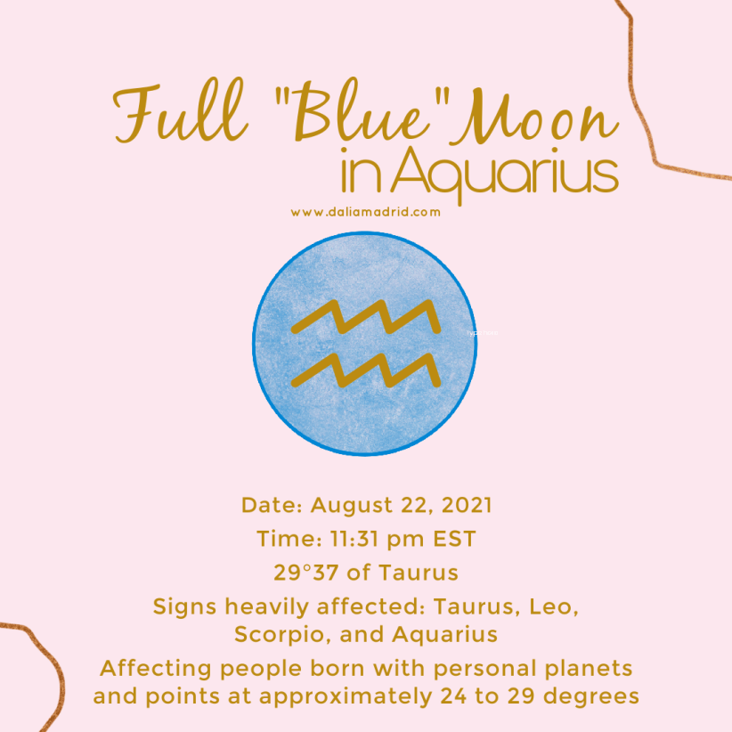 """Full """"Blue"""" Moon in Aquarius on Sunday at 29°37′ at 8:31 a.m."""