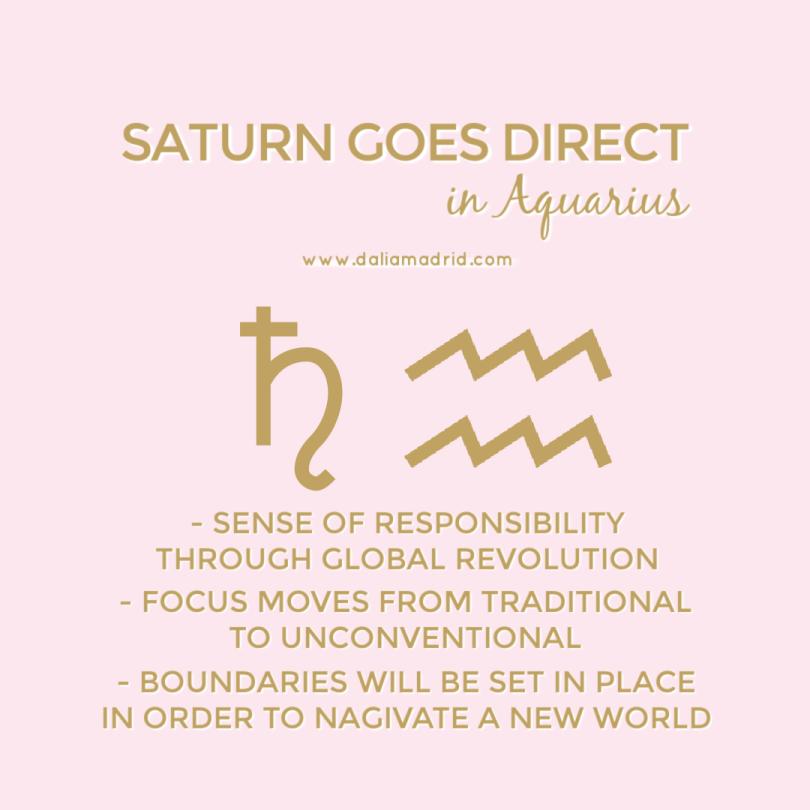 Saturn goes direct in Aquarius on October 10, 2021