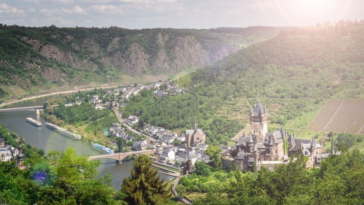 The impressive Castle of Cochem from the hill