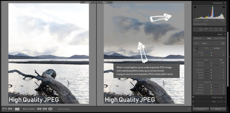 Performance of JPEG in the exact same edit proves how powerful the RAW file actually is. You cannot recover any details in the sky, only sort of darken it which looks very awkward and 'muddy'.
