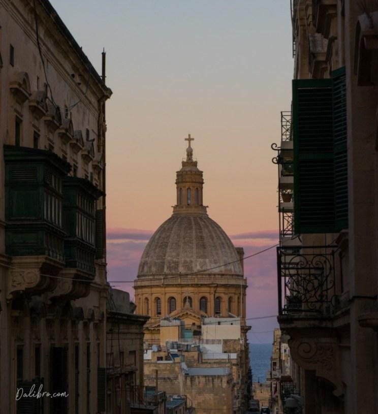 Triq Zekka Street in Valletta, Malta, in the evening - sky bursting with colors! Dalibro.com