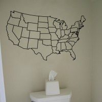 US United States Map Wall Decal Vinyl Sticker Graphic