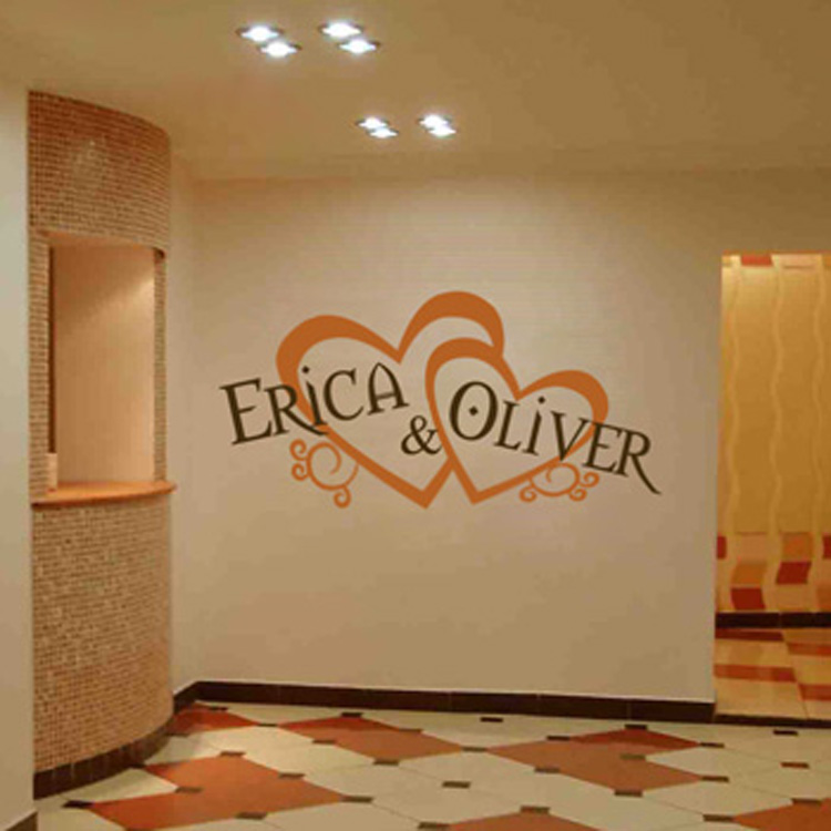 Personalized Wedding Monograms Hearts Amp Names Wall Decal Sticker Graphic