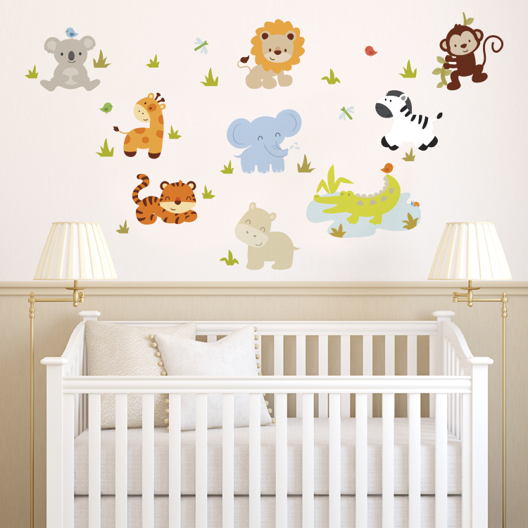 Baby Girl Nursery Removable Wallpaper Baby Zoo Animals Printed Wall Decals Stickers Graphics