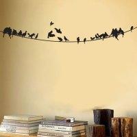 Birds sitting on a Powerline - Vinyl Wall Decal