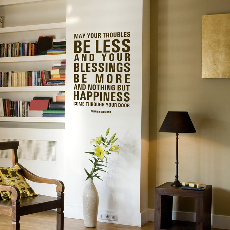 may your troubles be less irish blessing quote wall decals
