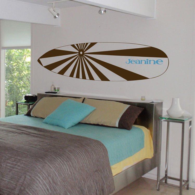surfboard name personalized monogram wall decals