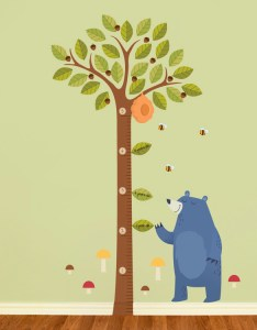 Tall acorn tree growth chart printed wall decals also stickers graphics rh dalidecals