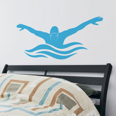 Butterfly Stroke  Male Swimmer  Wall Decals Stickers