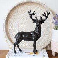 Antique Cast Iron Black Standing Deer Figurine  Dalisay