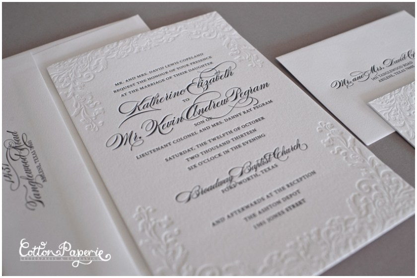 Cottonpaperie Letterpress Wedding Invitations With Blind Deboss