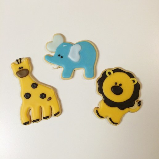 Baby Shower Giraffe, Elephant and Lion Animal Cookies / © Dallas Bakes! 2014