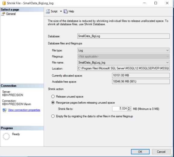 SQL Server Shrink File
