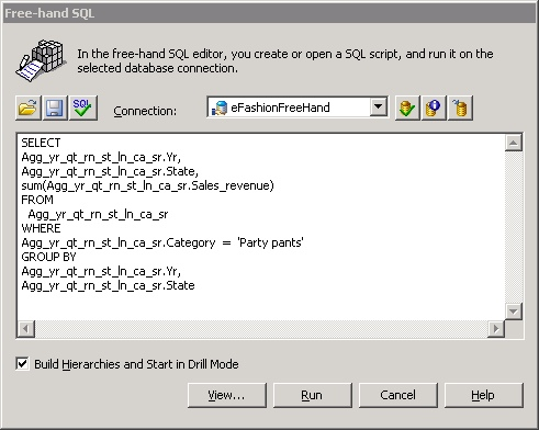 Desktop Intelligence Free Hand SQL Query Panel