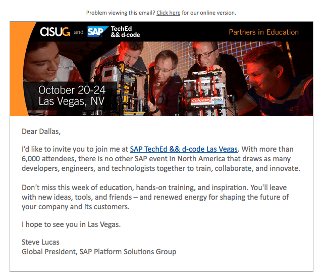 SAP TechEd Letter from Steve Lucas